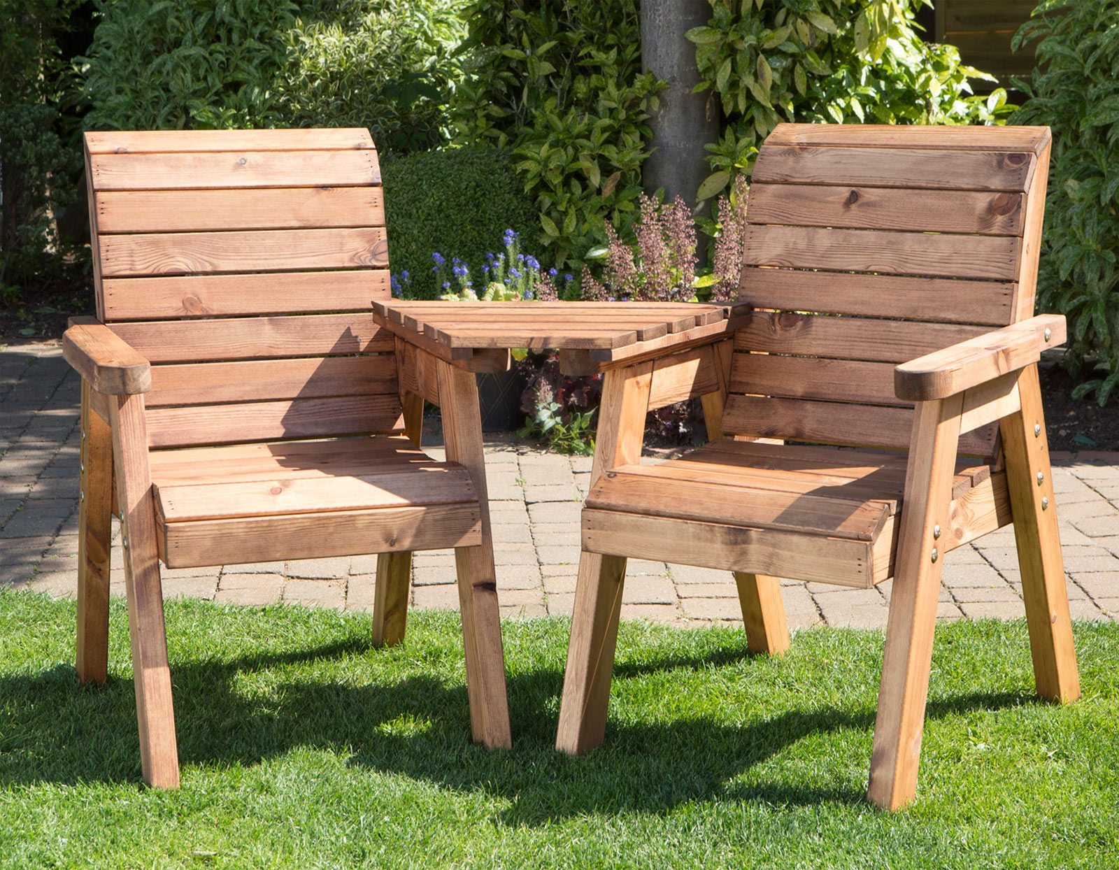 Twin Garden Companion Chairs   Love Seats   Tete A Tete Chairs   Solid Wood  Patio