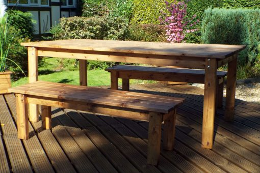 6 Seater Wooden Garden Table Bench Dining Set - Outdoor Patio Solid Wood Garden Furniture