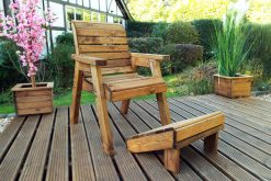 Wooden Garden Furniture - Garden Chair with Footstool - Solid Wood Patio and Garden Furniture