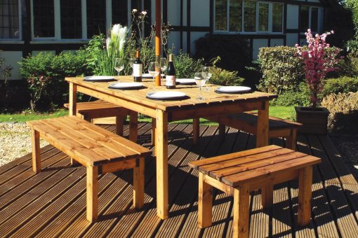 8 Seater Outdoor Wooden Garden Table Bench Dining Set - Solid Wood Patio Decking Furniture