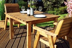 Square Wooden Outdoor Bistro Table Set with 2 Chairs - Solid Wood Patio and Garden Furniture