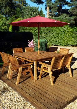 8 Seater Garden Dining Set – Garden Bench and Chairs - Solid Wood Patio Garden Furniture
