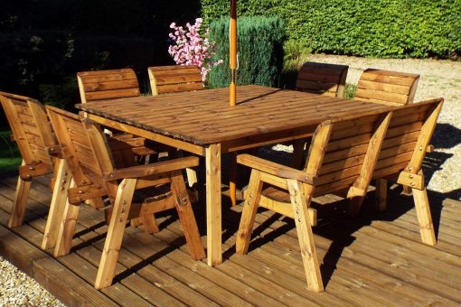 Large 8 Seater Wooden Outdoor Table  Chairs and Bench Dining Set - Solid Wood Patio Decking Furniture