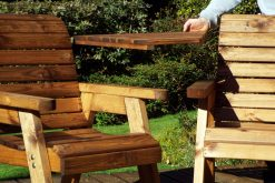 Twin Garden Companion Chairs - Love Seats - Twin Garden Seat - Solid Wood Patio and Garden Furniture