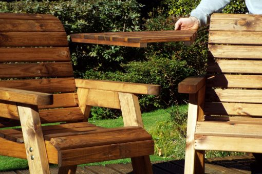 Twin Companion Seat - Loveseat - Tete a Tete Seats - Solid Wood Outdoor Patio Decking Furniture