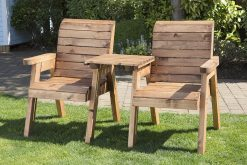 Twin Garden Companion Chairs - Love Seats - Tete a Tete Chairs - Solid Wood Patio and Garden Furniture