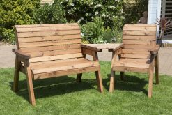 3 Seater Garden Companion Seats Angled - Love Seat - Solid Wood Patio and Garden Furniture