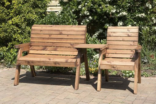 3 Seater Companion Seats - Loveseats - Tete a Tete Seats - Solid Wood Outdoor Patio Decking Furniture