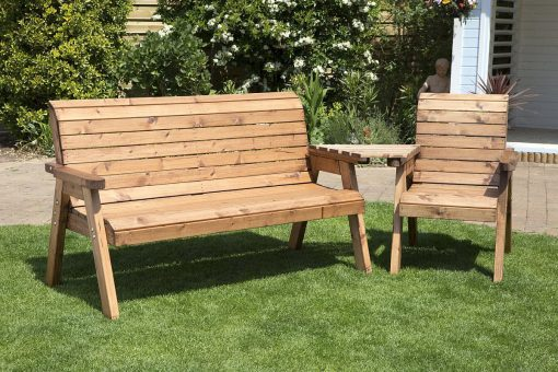 4 Seater Companion Seat - Love seat - Tête-à-Tête Seats - Solid Wood Outdoor Patio Decking Furniture