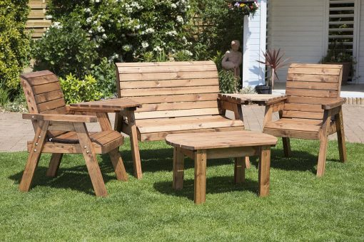 4 Seater Outdoor Conversation Set - Solid Wood Patio Decking Furniture