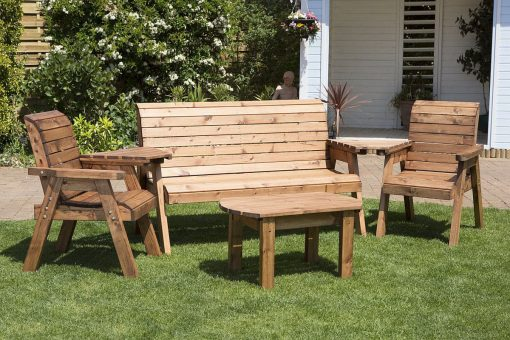 5 Seater Outdoor Wooden Conversation Set - Solid Wood Patio Decking Furniture