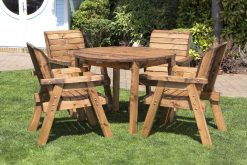 Round Wooden 4 Seater Garden Dining Set - Solid Wood Patio and Garden Furniture