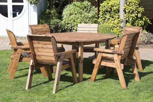 Round Wooden Garden Table and 6 Chairs Dining Set -Solid Wood Outdoor Patio Decking Furniture