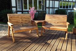 4 Seater Outdoor Wooden Bench Set - Solid Wood Patio Decking Furniture