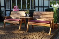 Twin Garden Companion Benches - Solid Wood Patio and Garden Furniture