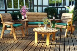 Outdoor Relaxer Set with 2 Seater Bench - 2 Armchairs and Round Coffee Table - Solid Wood Patio and Garden Furniture