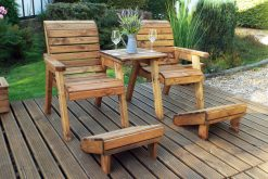 Deluxe Twin Garden Companion Chairs - Love Seats - Tete a Tete Chairs - Solid Wood Patio and Garden Furniture