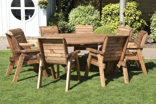 Round Wooden Garden Table and 8 Chairs Dining Set - Solid Wood Outdoor Patio Decking Furniture
