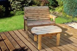 Wooden 2 Seater Bench with Coffee Table - Outdoor Coffee Table - Solid Wood Patio and Garden Furniture