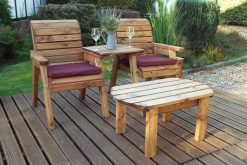 Deluxe Twin Garden Companion Chairs with Outdoor Coffee Table - Solid Wood Patio and Garden Furniture