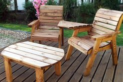 Deluxe Twin Garden Companion Chairs - Love Seats - Outdoor Coffee Table - Solid Wood Patio and Garden Furniture