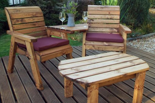 Wooden Outdoor Twin Companion Seat and Coffee Table - Solid Wood Patio Decking Furniture