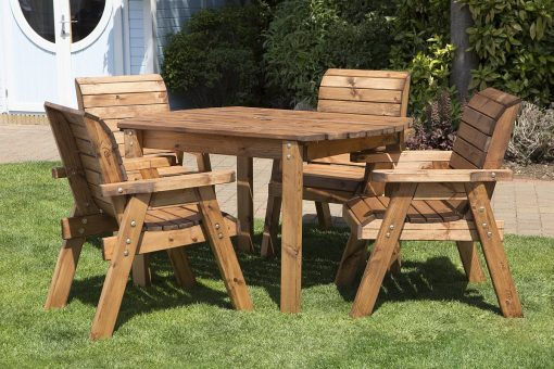 Wooden Garden Table and 4 Chairs Dining Set - Solid Wood Outdoor Patio Decking Furniture
