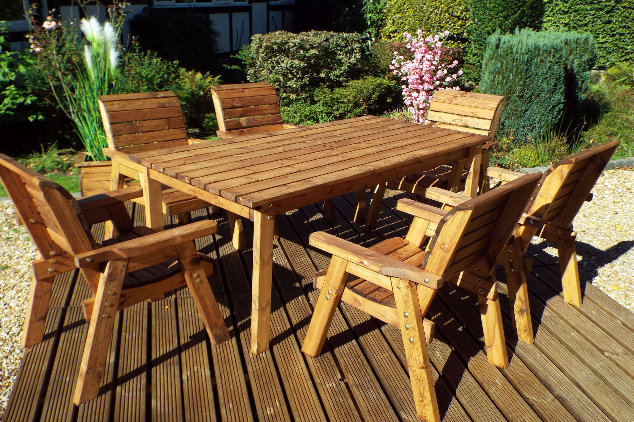 Wooden Garden Table And 6 Chairs Dining Set Solid Wood Outdoor Patio Decking Furniture