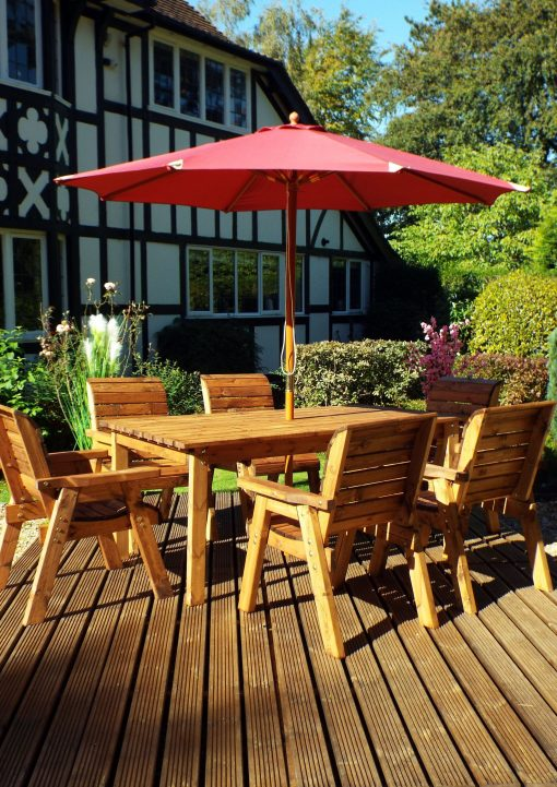 Wooden Garden Table and 6 Chairs Dining Set - Solid Wood Outdoor Patio Decking Furniture