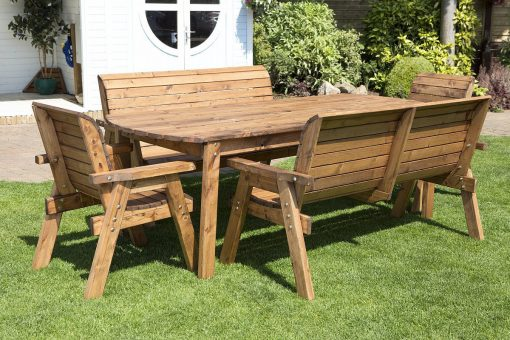 8 Seater Large Wooden Dining Table Bench and Chairs Set - Solid Wood Outdoor Patio Decking Furniture