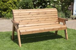 Wooden 3 Seater Bench with Arm Rests - Solid Wood Patio and Garden Furniture
