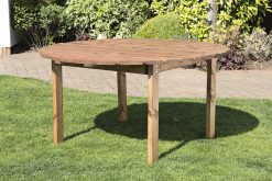 6 Seater Round Outdoor Wooden Table - Solid Wood Patio Garden Furniture
