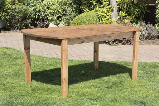 6 Seater Wooden Garden Table - Solid Wood Outdoor Patio Decking Furniture