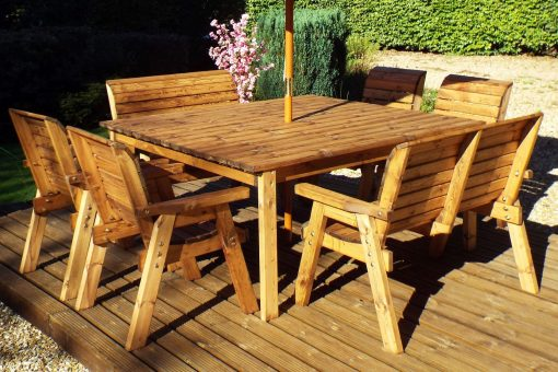 Large 8 Seater Wooden Garden Dining Set - Solid Wood Outdoor Patio Decking Furniture