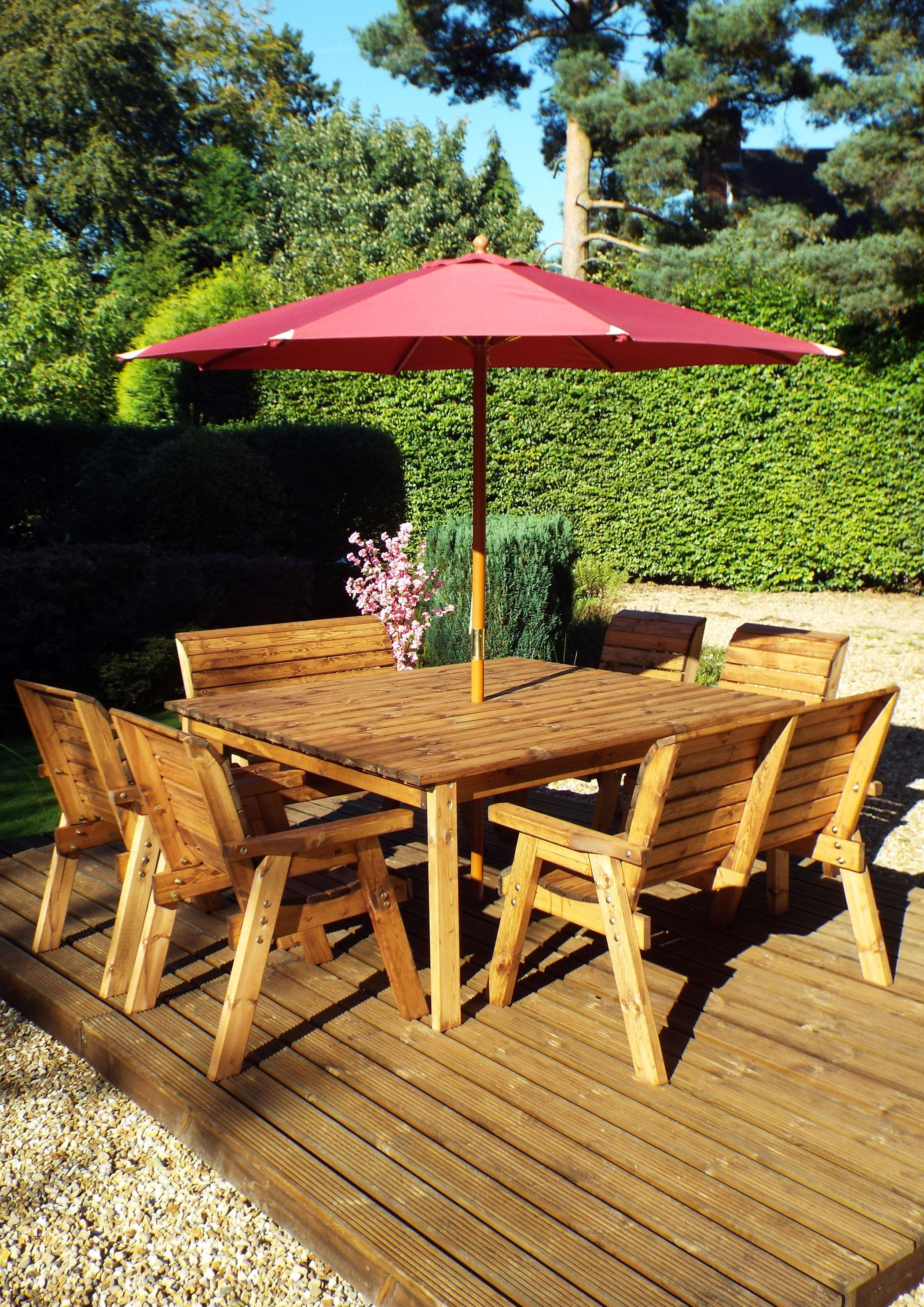 8 Seater Wooden Garden Table Bench And Chair Set Dining Set