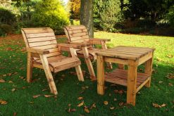 Wooden Garden Loveseats with Companion Table - Wooden Love Seat - Solid Wood Patio and Garden Furniture