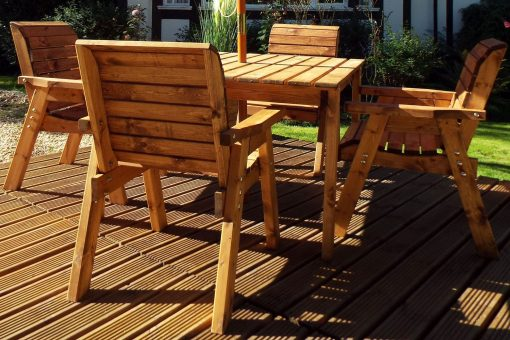 Square Wooden Garden Table and 4 Chairs Dining Set - Solid Wood Outdoor Patio Decking Furniture