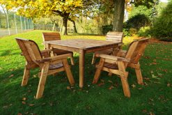 Square Wooden 4 Seater Garden Dining Set - Solid Wood Patio and Garden Furniture