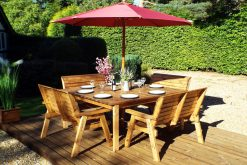 8 Seater Wooden Garden Table - Bench Dining Set - Outdoor Patio Solid Wood Garden Furniture