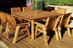 8 Seater Wooden Garden Table - Chair Dining Set - Outdoor Patio Solid Wood Garden Furniture