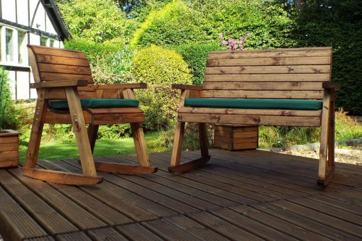 Outdoor Wood Rocking Chair with Wooden Bench Rocker