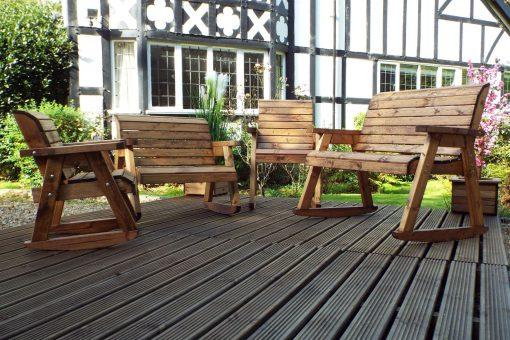 Outdoor Wooden Rocking Chair and 2 Seater Bench with Kids Rocking Chair and 2 Seater Bench