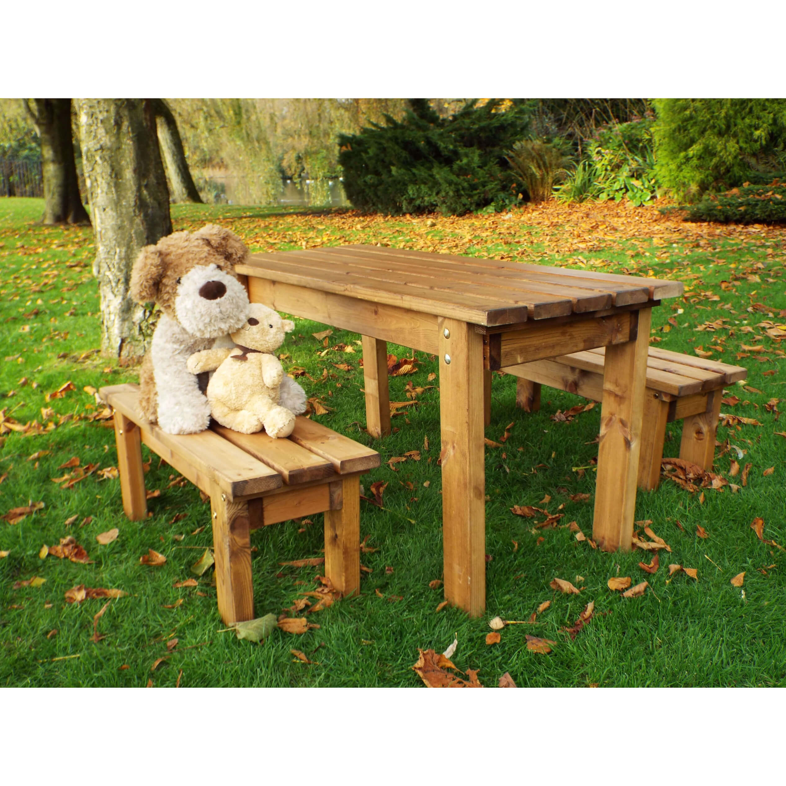 Childrens Garden Bench Table Set - Solid Patio Kids Furniture