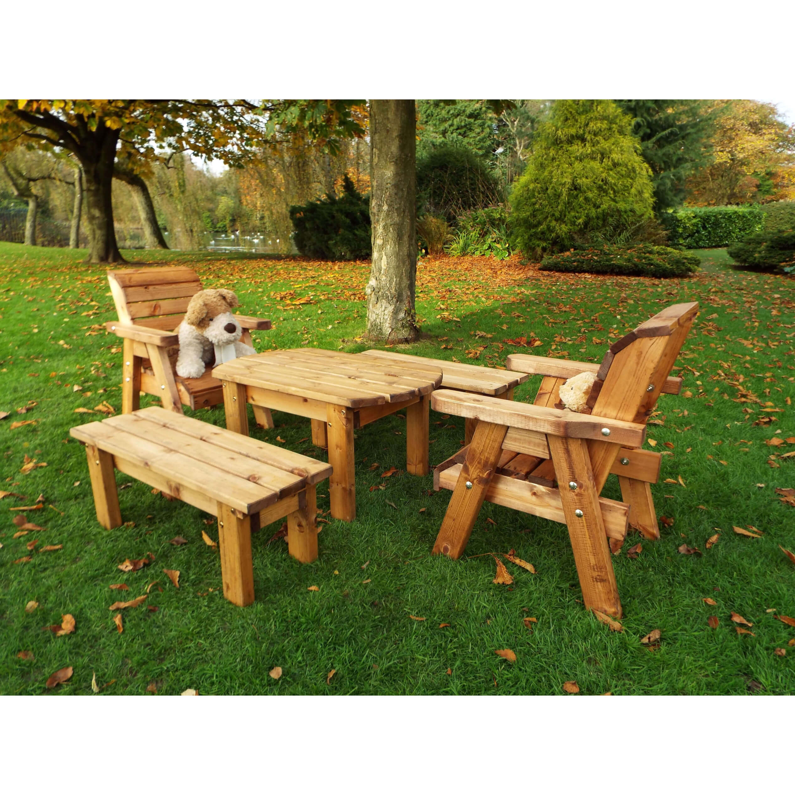 Childrens 6 Seater Wooden Outdoor Bench And Chairs Set Solid Patio Kids Furniture