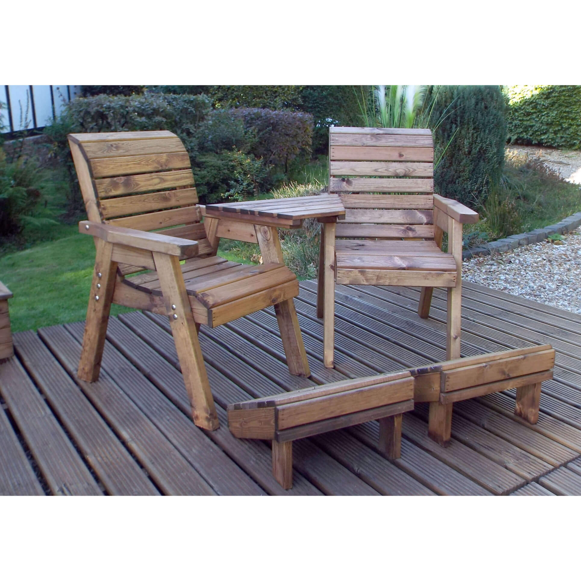 Wooden Twin Companion Seat with Footrests - Love Seat Garden Furniture